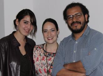 Cinthya García Leyva, María Andrea Giovine y Roberto Cruz Arzabal, integrantes de _lleom_